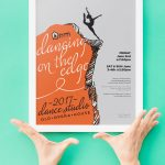dancer dancing on the edge of a cliff, illustration and print design for dance studio